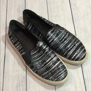 Vince Blair Striped Leather Snake Slip On Sneakers